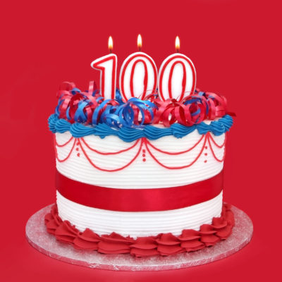 100th cake with numeral candles, on vibrant red background Cosmos Party Supplies