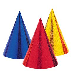 coloured-cone-hats-from-Cosmos-party-boxes