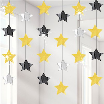 Black-gold-hanging-stars-from-Cosmos-party-boxes-from-Cosmos-party